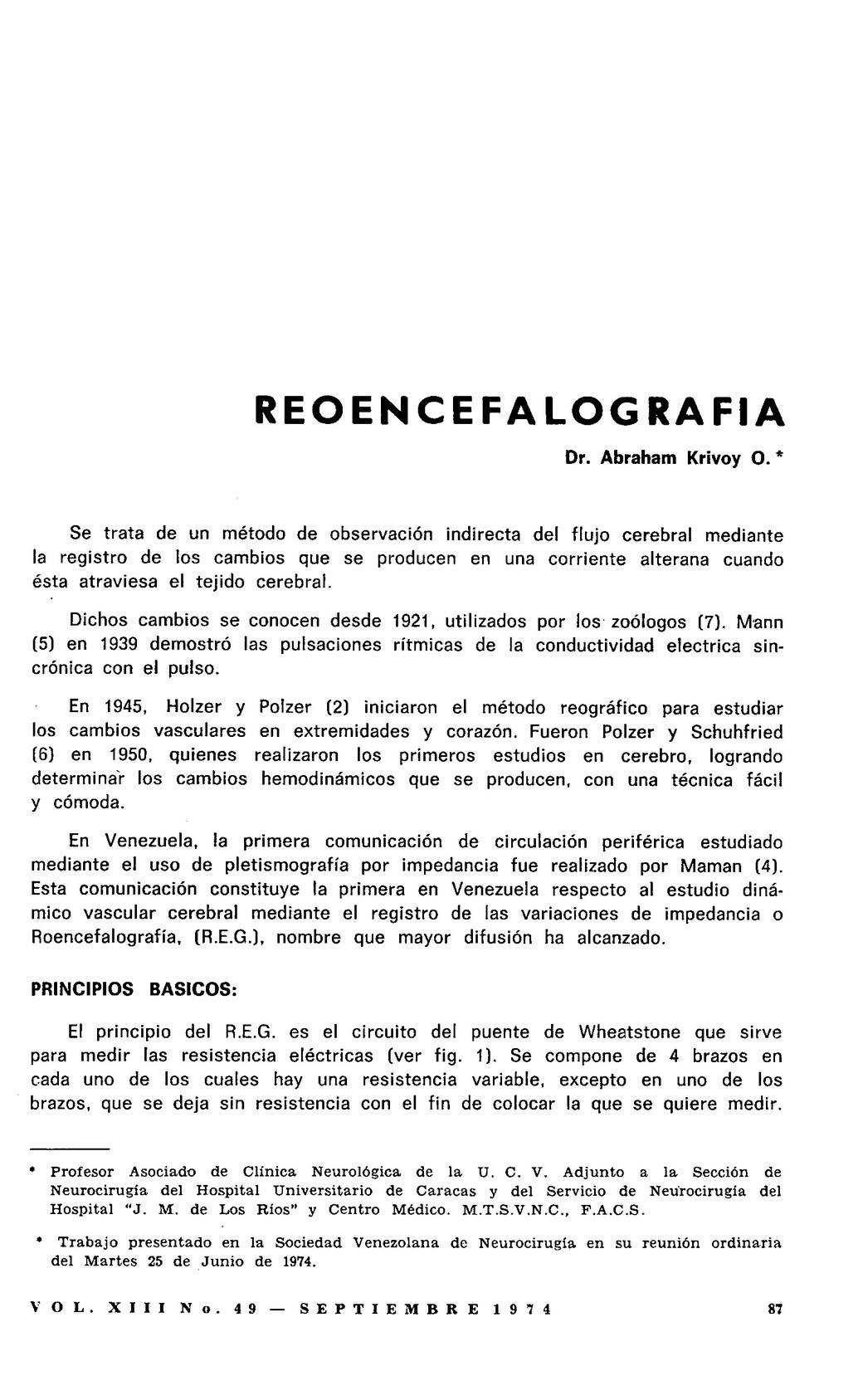 Circuito Vascular : Reoencefalografía
