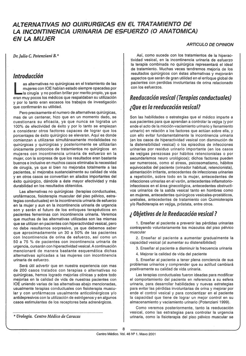 Alternativas quirúrgicas en el tratamiento de la incontinencia ...