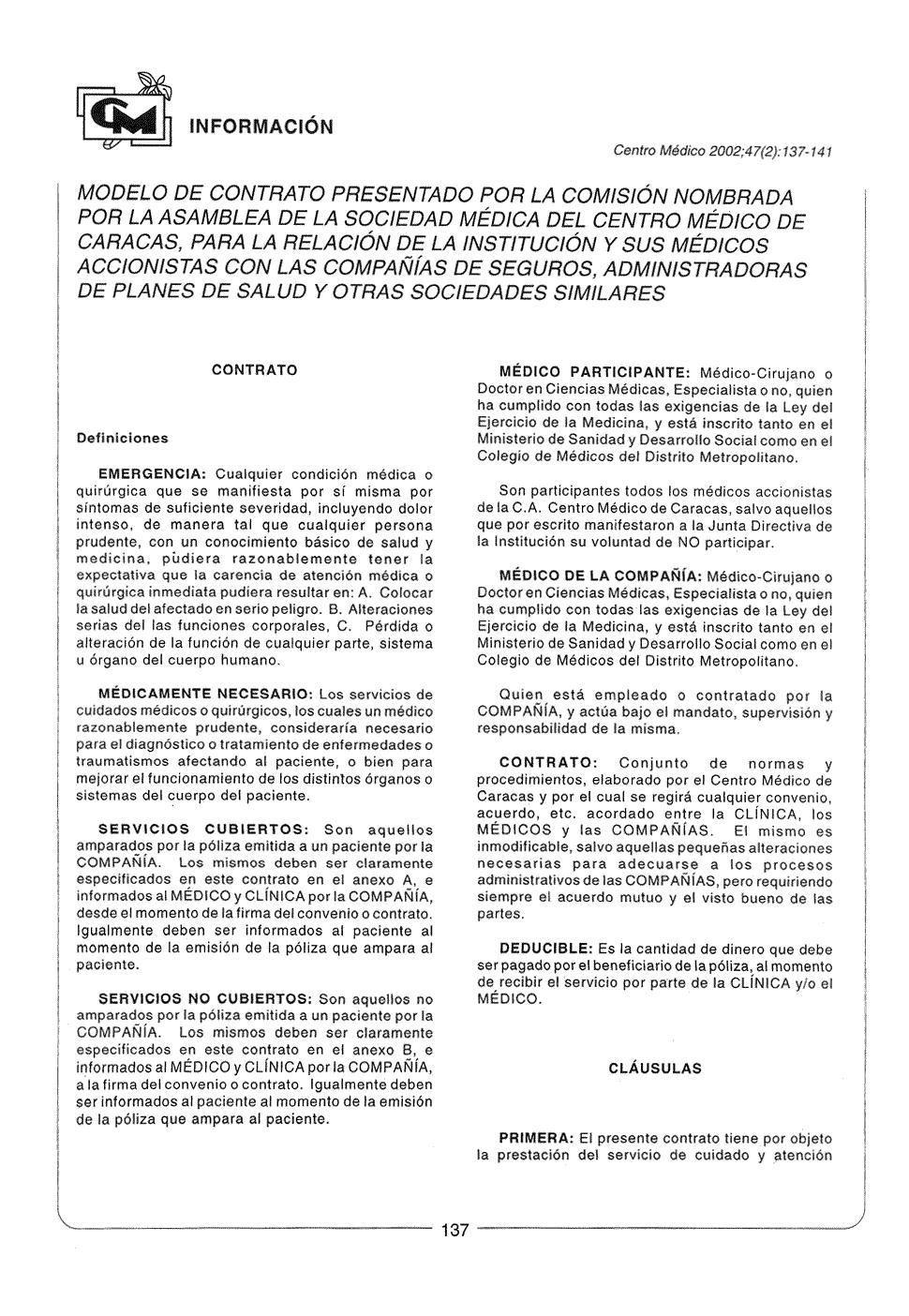 Modelo de contrato presentado por la Comisión nombrada por la ...